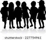 children silhouettes   Shutterstock .eps vector #227754961