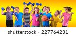 team of sportive children... | Shutterstock . vector #227764231