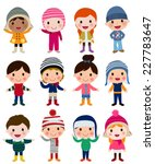 group of winter kids | Shutterstock .eps vector #227783647