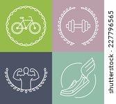 vector sport logos in outline... | Shutterstock .eps vector #227796565