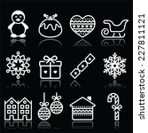 christmas  winter white icons... | Shutterstock .eps vector #227811121