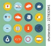 seo marketing flat icons set... | Shutterstock .eps vector #227832841