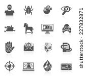 hacker black icons set with bug ... | Shutterstock .eps vector #227832871