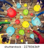 group of people with light bulb ... | Shutterstock . vector #227836369