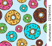 sweet donuts seamless vector... | Shutterstock .eps vector #227845441
