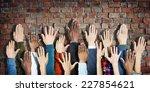 group of diverse people's hands ... | Shutterstock . vector #227854621