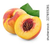 fresh peach with half and... | Shutterstock . vector #227855281
