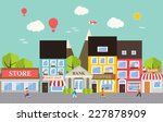 small town urban landscape in... | Shutterstock .eps vector #227878909