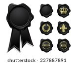 black wax seal collection... | Shutterstock .eps vector #227887891