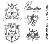 set of running marathon and... | Shutterstock .eps vector #227897287