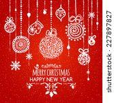 doodle textured christmas...   Shutterstock .eps vector #227897827