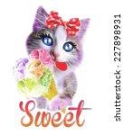 Stock photo t shirt graphics cute cat illustration cat poster cat graphics for textiles princess cat 227898931