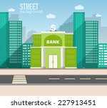 bank building in city space... | Shutterstock .eps vector #227913451