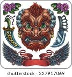hand drawn set of old school...   Shutterstock .eps vector #227917069