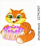 cat with a holiday pie on a... | Shutterstock .eps vector #22791907