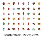 food icon color set | Shutterstock .eps vector #227919895