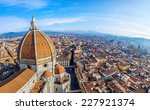 Stock photo rooftop view of medieval duomo cathedral in florence 227921374