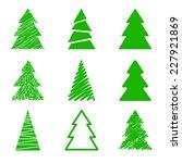 Set Of Nine Christmas Trees....
