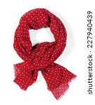 Women's Red Silk Scarf With...
