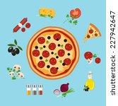 pizza flat style vector...   Shutterstock .eps vector #227942647