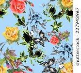 beautiful watercolor flowers... | Shutterstock . vector #227943967
