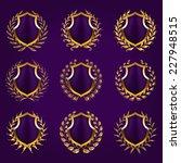 set of golden vector shields...   Shutterstock .eps vector #227948515