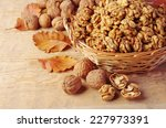 Walnut Kernels In Basket And...