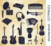 musical instruments icons.... | Shutterstock .eps vector #227998321