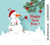 happy new year snowman... | Shutterstock .eps vector #228006004