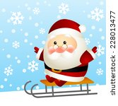 funny santa on a sled | Shutterstock . vector #228013477