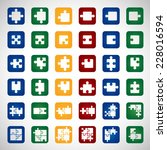 puzzle icons set   isolated on...