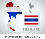 thailand world map and flag