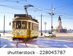 vintage yellow tramway at the... | Shutterstock . vector #228045787
