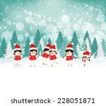 baby girls on winter forest... | Shutterstock . vector #228051871