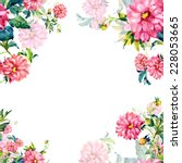 floral background dahlia | Shutterstock . vector #228053665