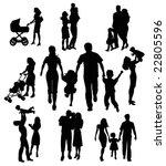 family silhouettes | Shutterstock .eps vector #22805596