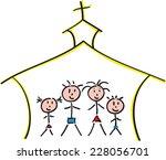 Hand Drawn Family In Church