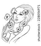 beauty young woman sketch... | Shutterstock . vector #228056971