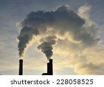 Factory Smokestack. Winter ...