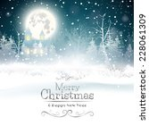 christmas greeting card with... | Shutterstock .eps vector #228061309