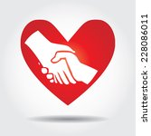 love handshake in red heart... | Shutterstock .eps vector #228086011