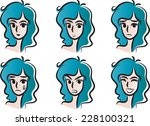 woman emotion faces | Shutterstock .eps vector #228100321