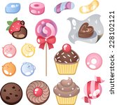 candy and chocolate cartoon... | Shutterstock .eps vector #228102121