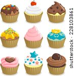 Cupcake Cup Cake Icon Set  Wit...