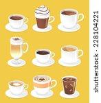 coffee types set  vector... | Shutterstock .eps vector #228104221