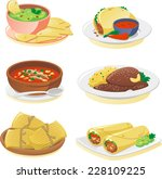 mexican cuisine dishes cartoon... | Shutterstock .eps vector #228109225