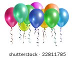 Bunch of colorful balloons rising up in the air isolated on white - stock photo