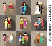 flat set of family life. vector | Shutterstock .eps vector #228118081