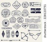 vector romantic postage stamp... | Shutterstock .eps vector #228123751