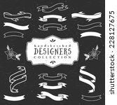 chalk decorative ribbon banners.... | Shutterstock .eps vector #228127675